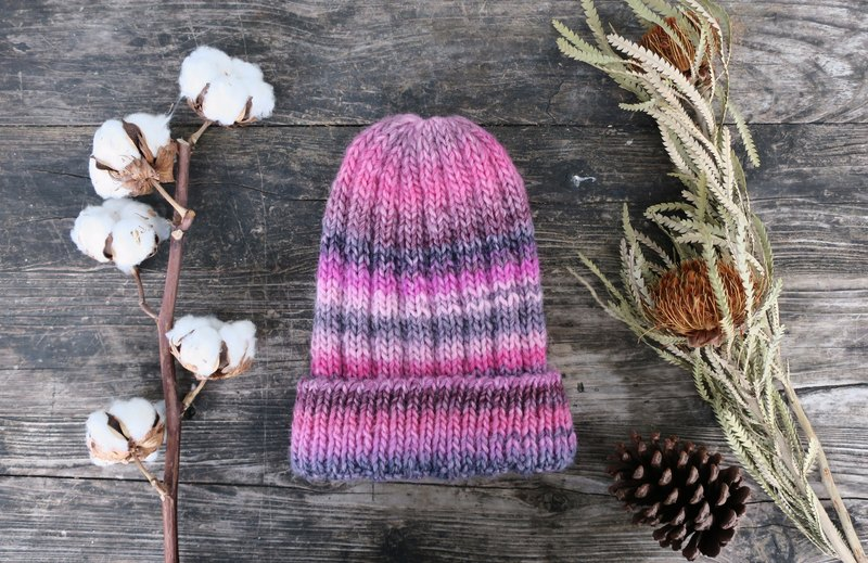 阿母の的手作帽-反摺毛帽-草莓色漸層-交換禮物