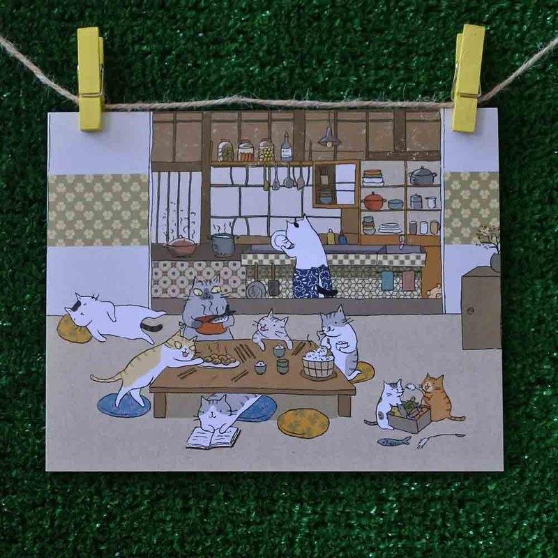 三貓小舖貓咪插畫明信片(畫家:貓小姐) – 貓一家的晚餐