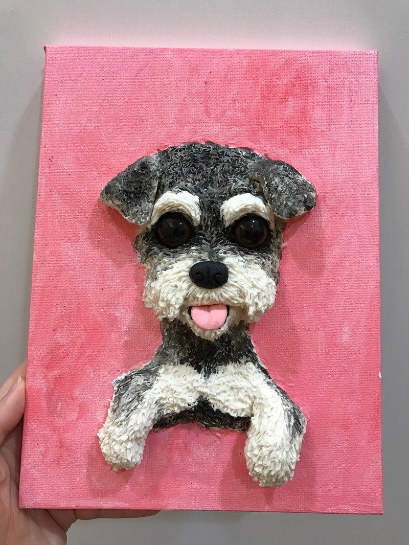 現貨 雪納瑞 斑馬與狗獨創寵物立體肖像畫 單隻 公仔訂做 貓公仔 狗公仔 客製化 客製畫