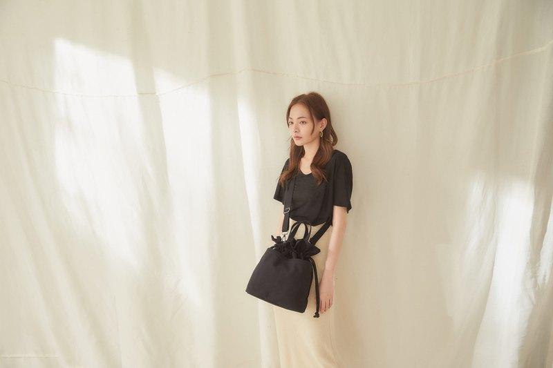 Fiona 帆布 2way 側背包 +3號內袋【黑】