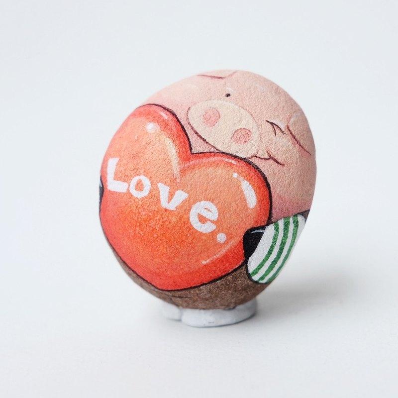 與心臟石繪畫的桃紅色豬