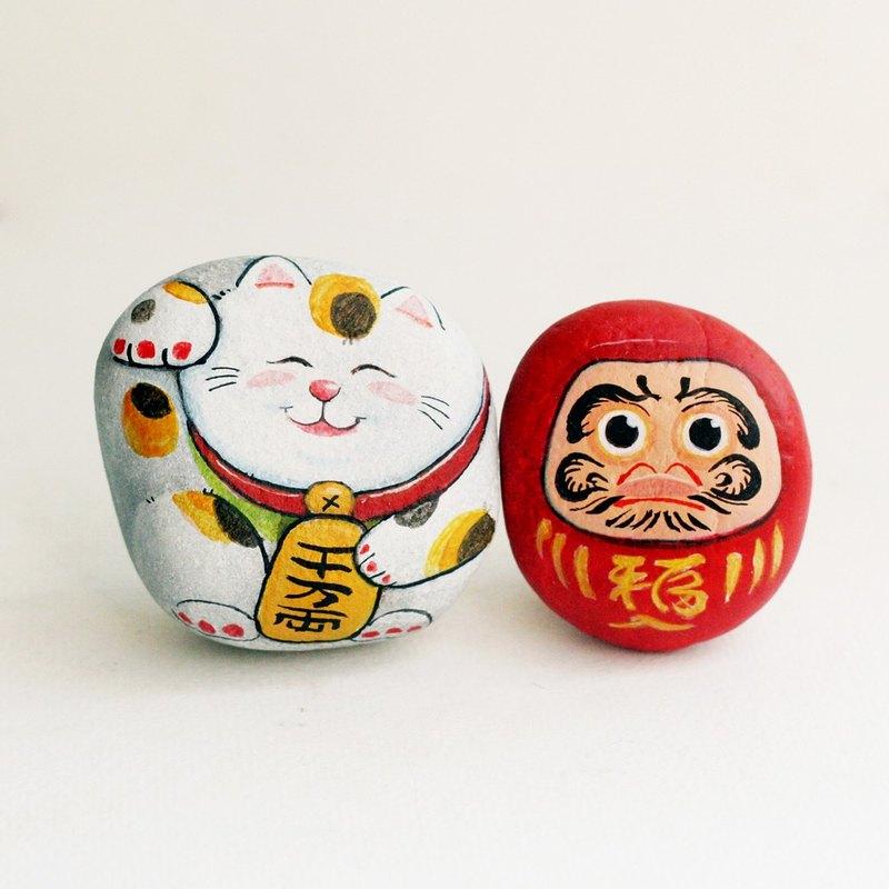 Maneki-neko和Daruma Stone繪畫