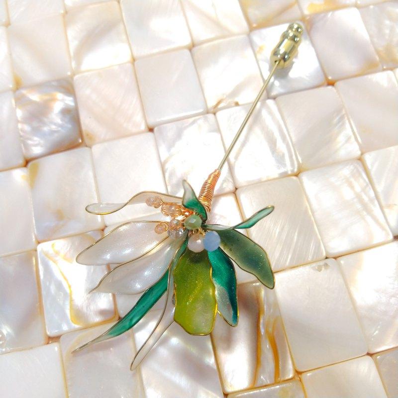 金色陽光花束-自鎖飾-水晶花胸針-067-004