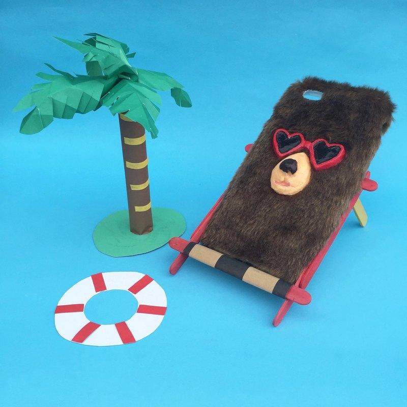 毛絨絨手機殼-戴眼鏡大熊