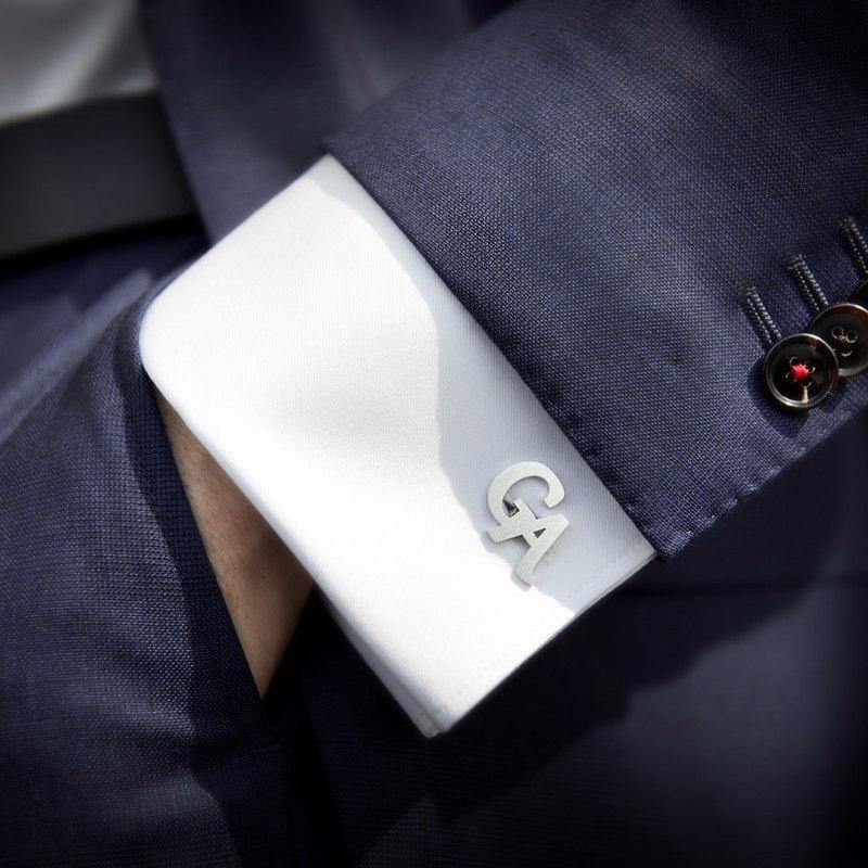 初始袖扣鈕扣 - 男士结婚袖扣 结婚袖扣 - 個性化袖扣刻有首字母