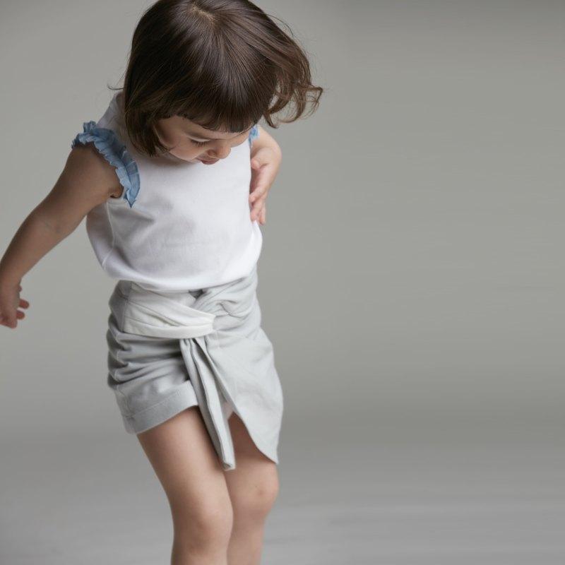時尚抓摺短裙-粉/灰