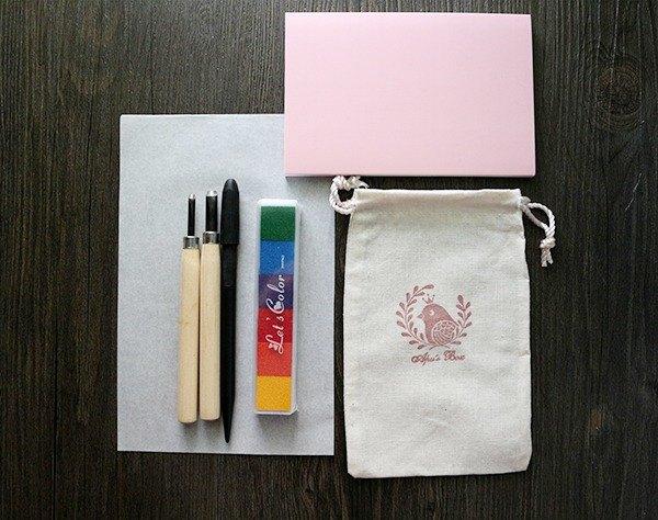 Apu手工章 DIY手工橡皮章材料包 贈雕刻刀片替刃+清潔彩泥+图样