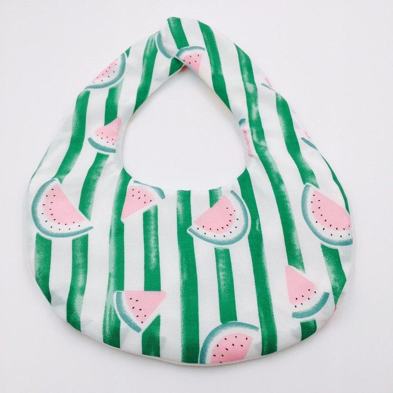 清涼西瓜綠色條紋圍兜 二重紗 口水巾 設計款 彌月禮