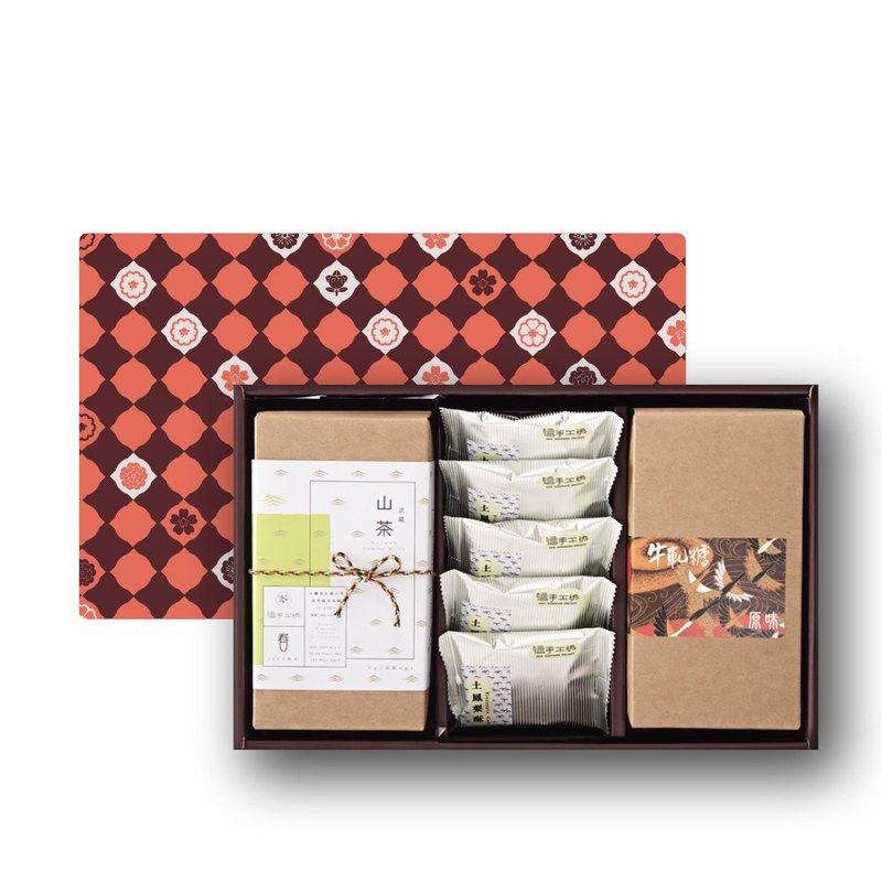 金鶴禮D-土鳳梨酥5個、原味牛軋糖150g、山茶禮盒/咖啡禮掛耳包