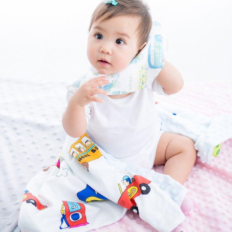 Minky多功能 點點顆粒 攜帶毯嬰兒毯冷氣毯被 藍色-汽車