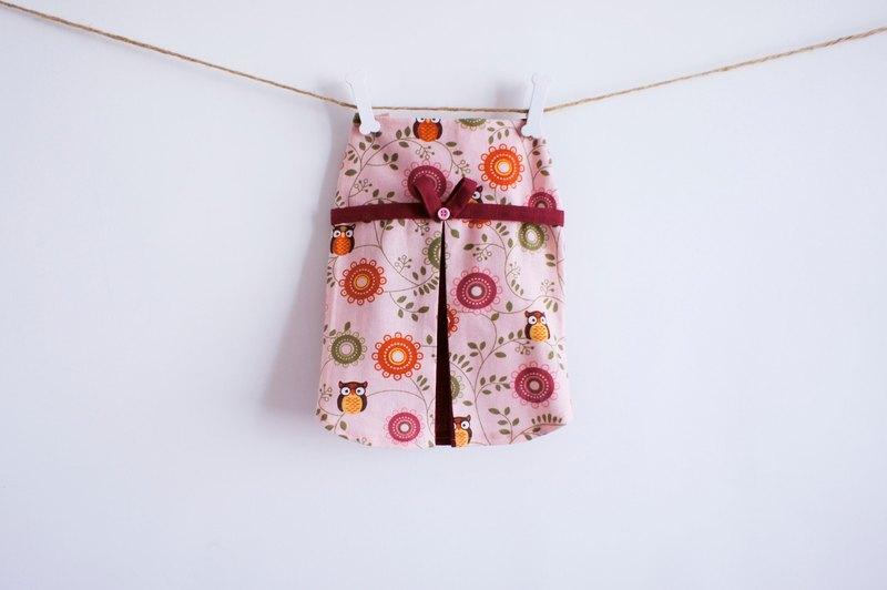 可訂製。可愛粉紅貓頭鷹洋裝 寵物衣