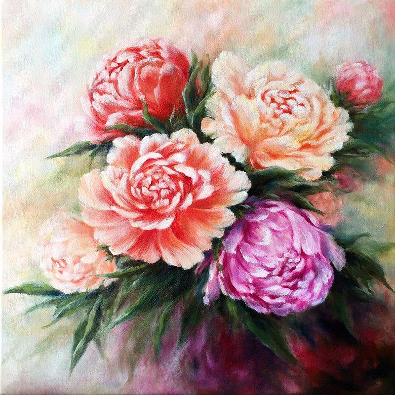 【牡丹】花卉原作油畫   紅粉紫花束浪漫居家裝飾   富貴花開