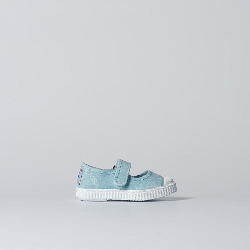 西班牙帆布鞋 CIENTA 76777 72 淡藍色 洗舊布料 童鞋 瑪莉珍
