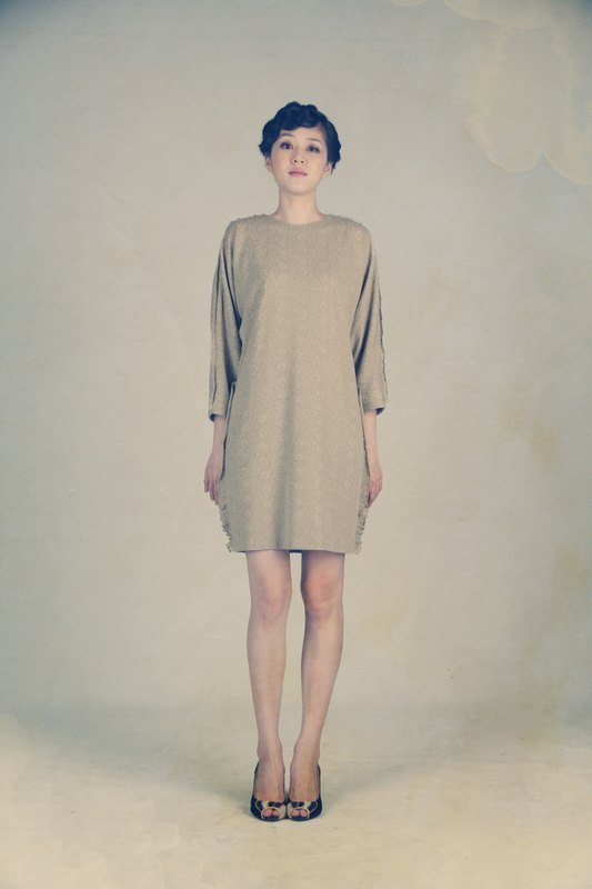 滿足鑲邊連袖洋裝