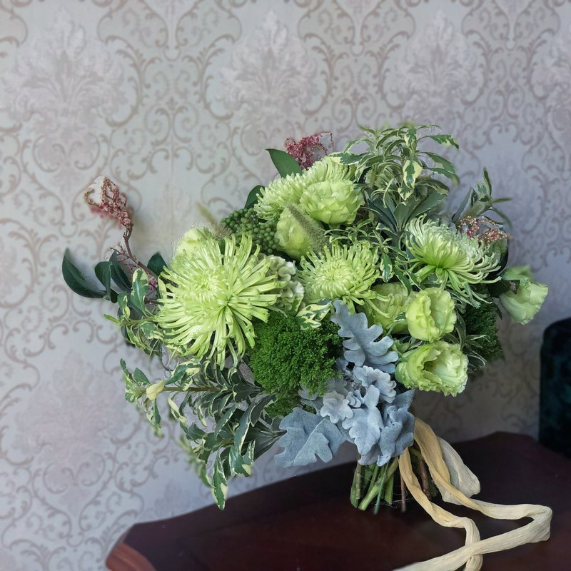 SCwedding新娘手綁花束 植感綠意自然風格 附植物手染飄逸絲帶