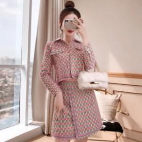 スカートセットアップ 送料無料 ラメツイード襟パールボタン長袖付きジャケットフレアミニスカートスーツ♪ピンク 大人 上品 きれい