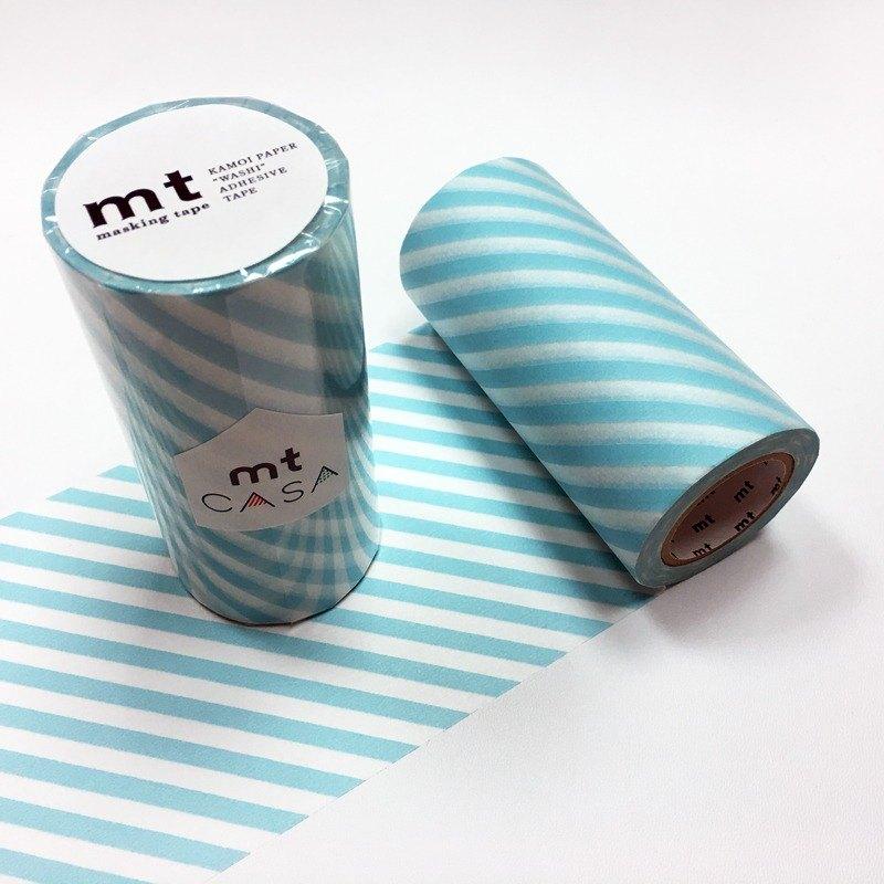 mt CASA tape 100mm和紙膠帶【斜紋 - 薄荷藍 (MTCA1105)】