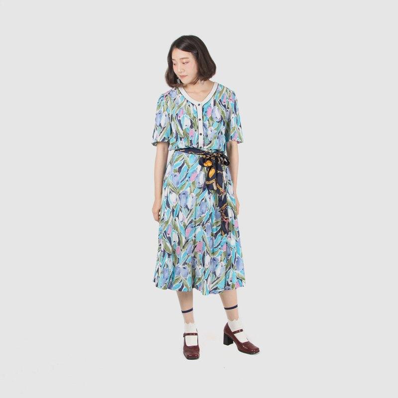【蛋植物古著】雨後蘭花印花棉質裙式古著套裝