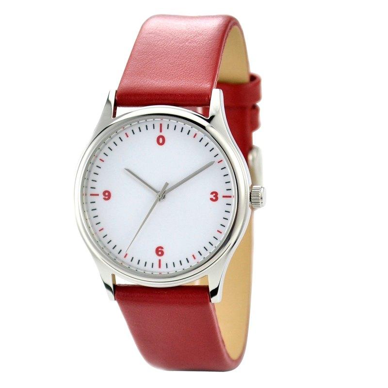 簡單數字手錶 紅色 全球免運