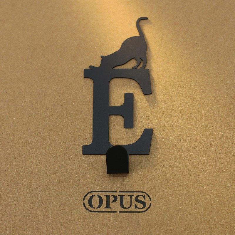 【OPUS東齊金工】當貓咪遇上字母E - 掛勾(黑)衣架/造型掛鉤/無痕