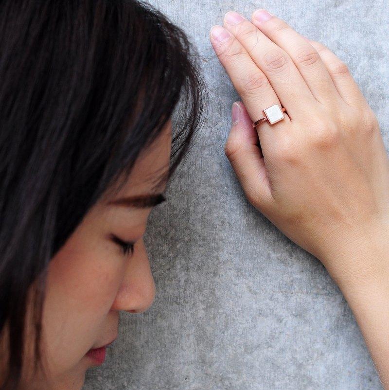 白水泥正方形銀指環/戒指(玫瑰金)   幾何系列