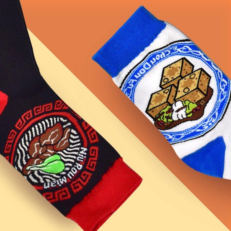 台灣牛肉麵襪特色襪Taiwan Beef Noodle SOCKS+台灣好食臭豆腐特色襪Taiwan Stinky Tofu socks