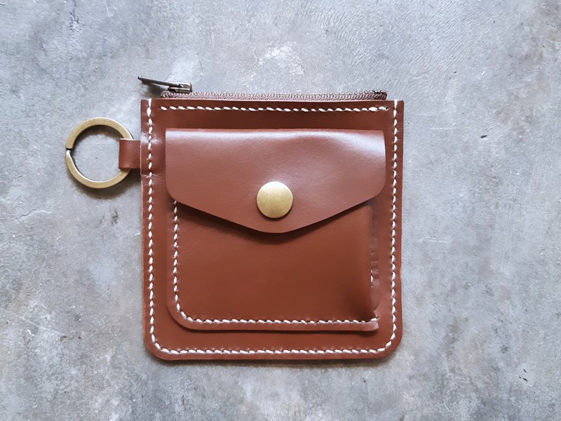 正方形拉鍊銀包 好好縫 皮革材料包 錢夾 銀包 散紙包 意大利植鞣