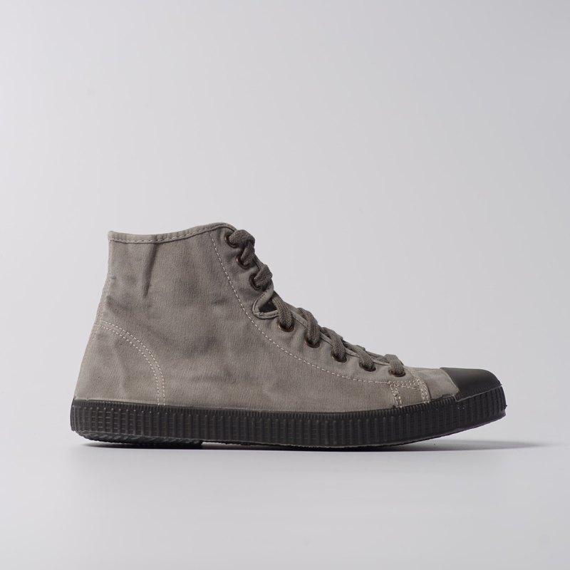 西班牙帆布鞋 CIENTA U61777 34 水泥灰 黑底 洗舊布料 大人 高筒