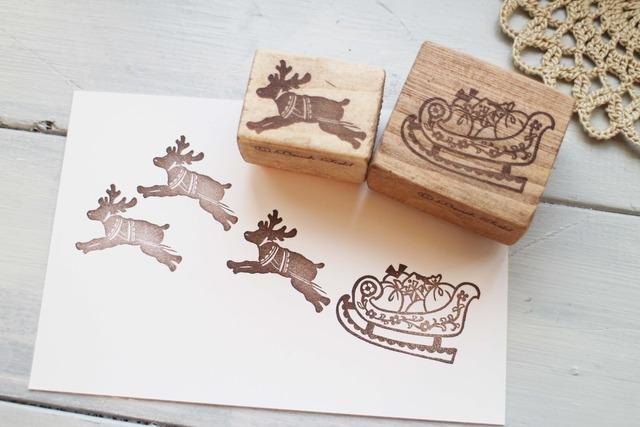 麋鹿+雪橇 2 入木頭印章組