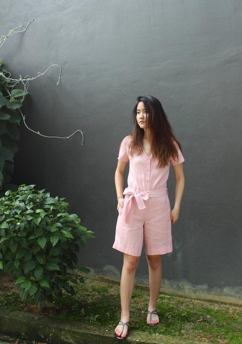 亞麻輕薄造型連身褲 - 粉红色  E29P