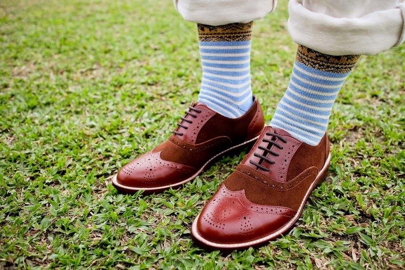城市少女 倫敦享漫步 - 全牛革手工雕花牛津鞋 - 焦糖棕