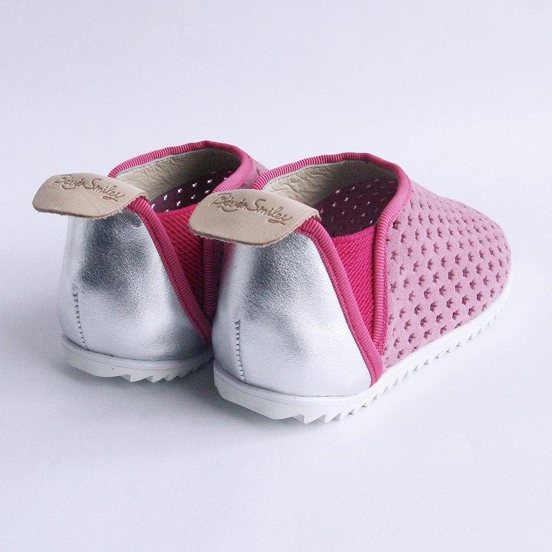 Beven Smiley。V系列真皮兒童休閒鞋-洞洞款-柔美粉-30碼