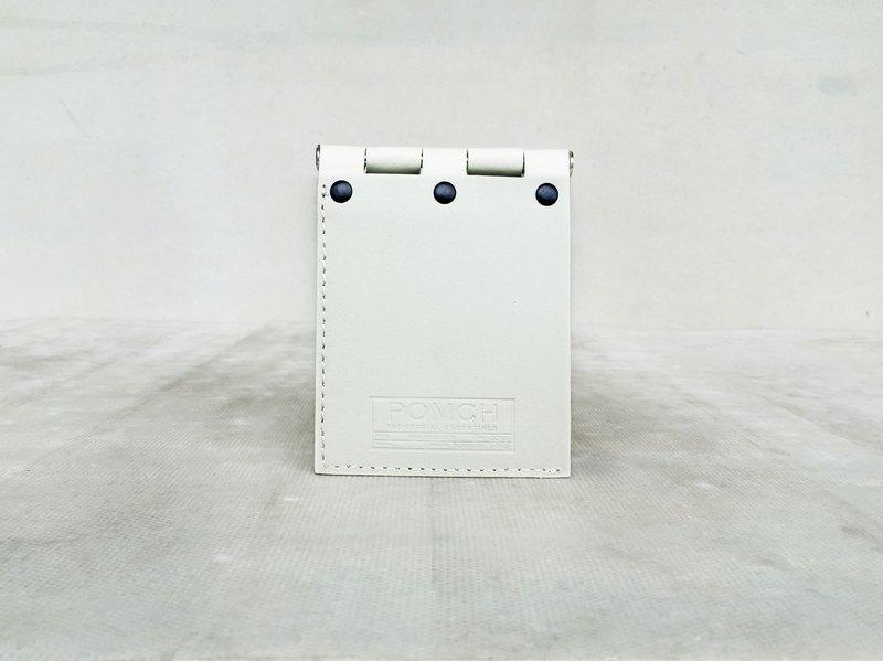 『 POMCH 』 - HINGE合頁皮革短皮夾 (米白色)