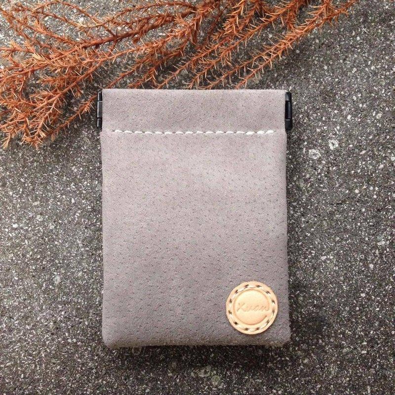彈片零錢包-長形-淺灰-手工收納皮件