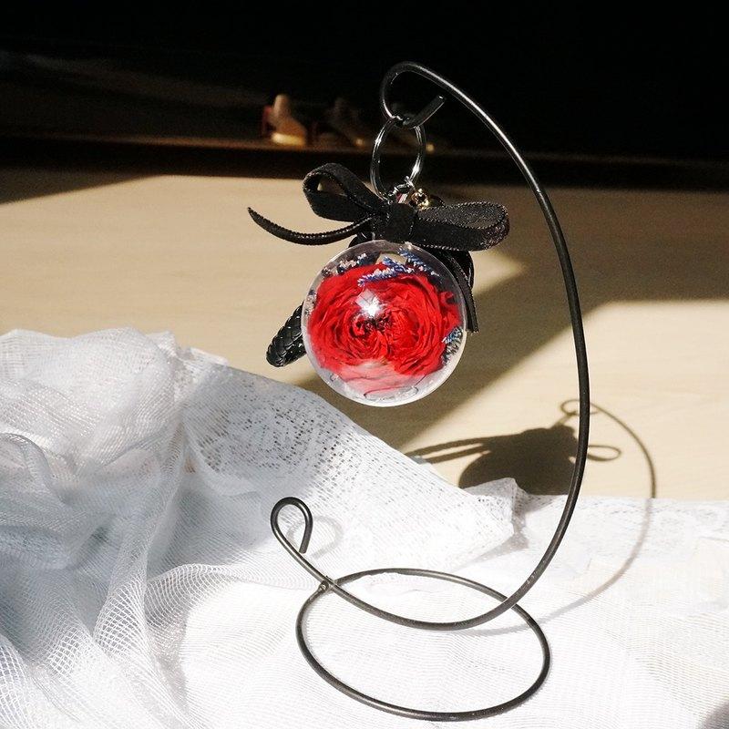 永生花透明球球鑰匙圈(大)-紅色古典玫瑰