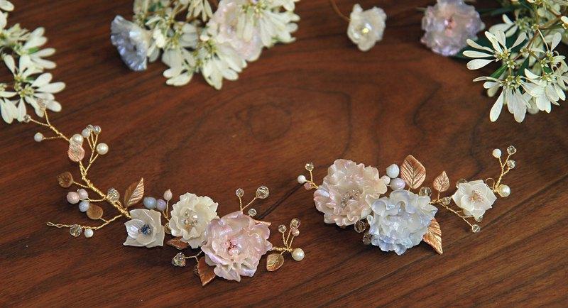 手工新娘頭飾 粉色洋桔梗 金葉