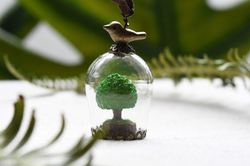 小圓樹‧模型‧玻璃球項鍊