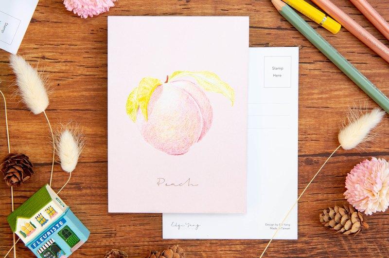水果插畫明信片 水蜜桃