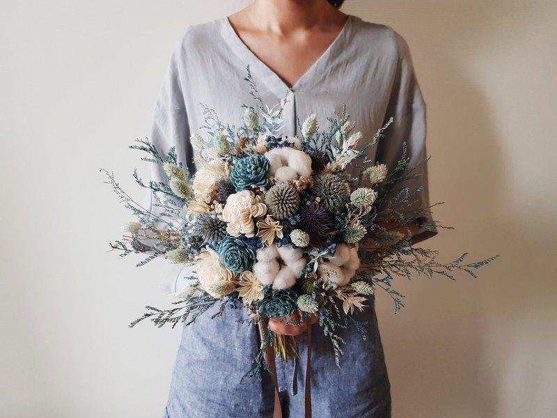 乾燥捧花 | 藍色系棉花乾燥花 | 新娘捧花 | 拍照捧花
