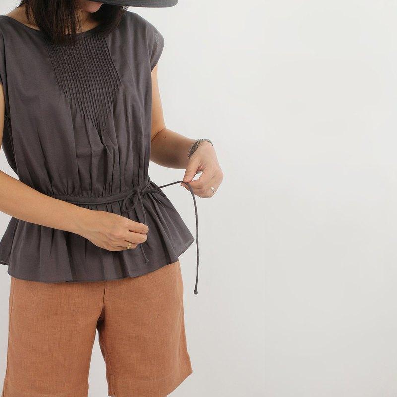 Cotton Cap Sleeves女式襯衫,灰色,深灰色