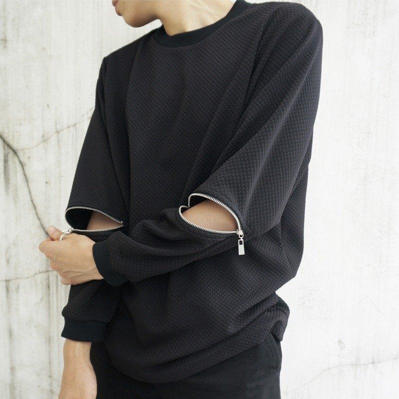 'Sebastian'長袖拉鍊上衣 - 黑色