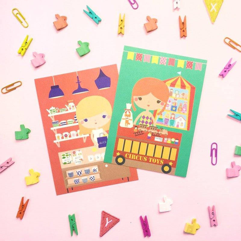 [女孩與她的店] elizabeth's 的玩具店 + alice 的餐具店 - 明信片組