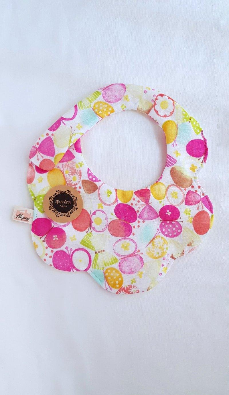 糖果蝴蝶-桃-八層紗100%cotton雙面造型圍兜.口水巾