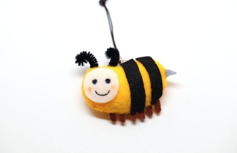 【手機好夥伴】毛毛蜜蜂別針/手機吊飾(可附耳機塞)/磁鐵