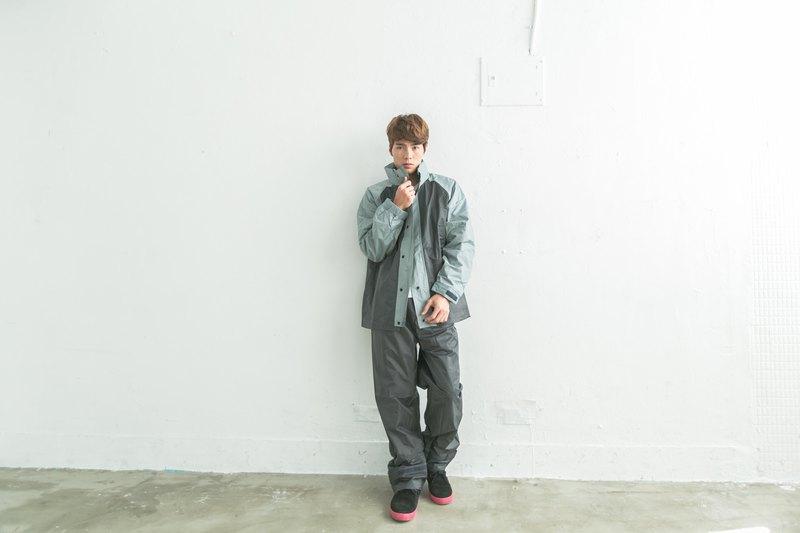 風動兩件式雨衣-鐵灰/淺灰