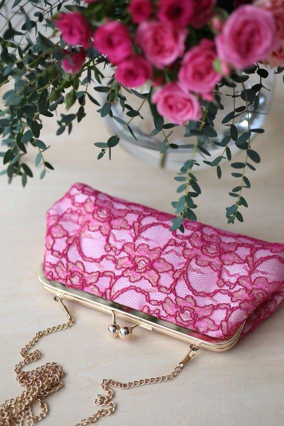 粉紅 & 紅色手拿、口金包 | 新娘、媽媽 | 紫紅色牡丹蕾絲