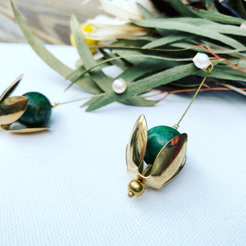 花朵造型礦石天然珍珠貼式耳環_孔雀石垂墜雙用_銅耳環