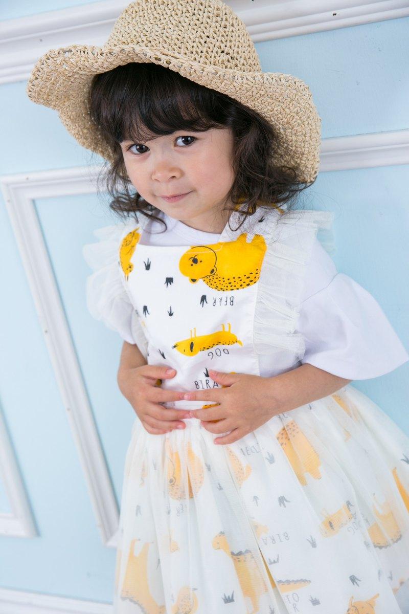 兒童圍裙工作服畫畫衣 蕾絲紗裙洋裝 Animal
