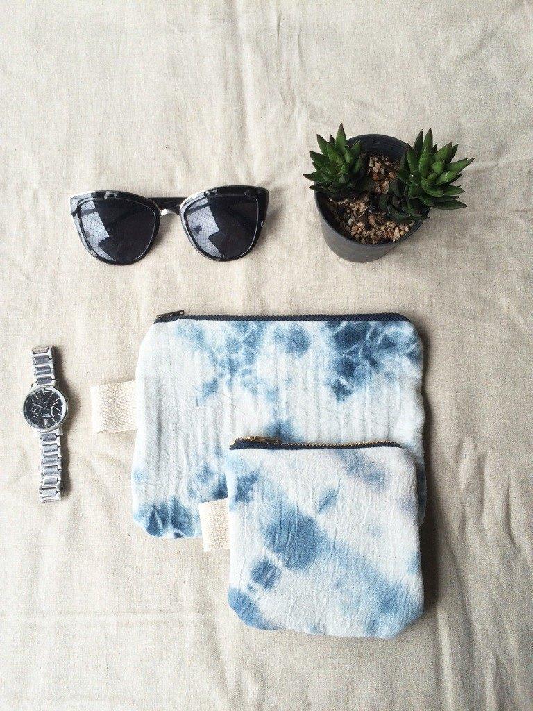 設置的2手染紮染100%的未漂白棉化妝包,零錢包,配件袋,小的小工具袋,拉鍊袋。