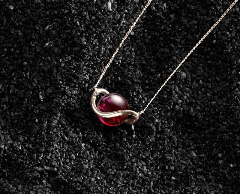 石榴石14k黃金項鍊 極簡鎖骨鍊 酒紅色小項鍊金飾 一月誕生石墜子